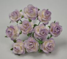 1 cm 2 tone LIGHT LILAC Mulberry Paper Roses